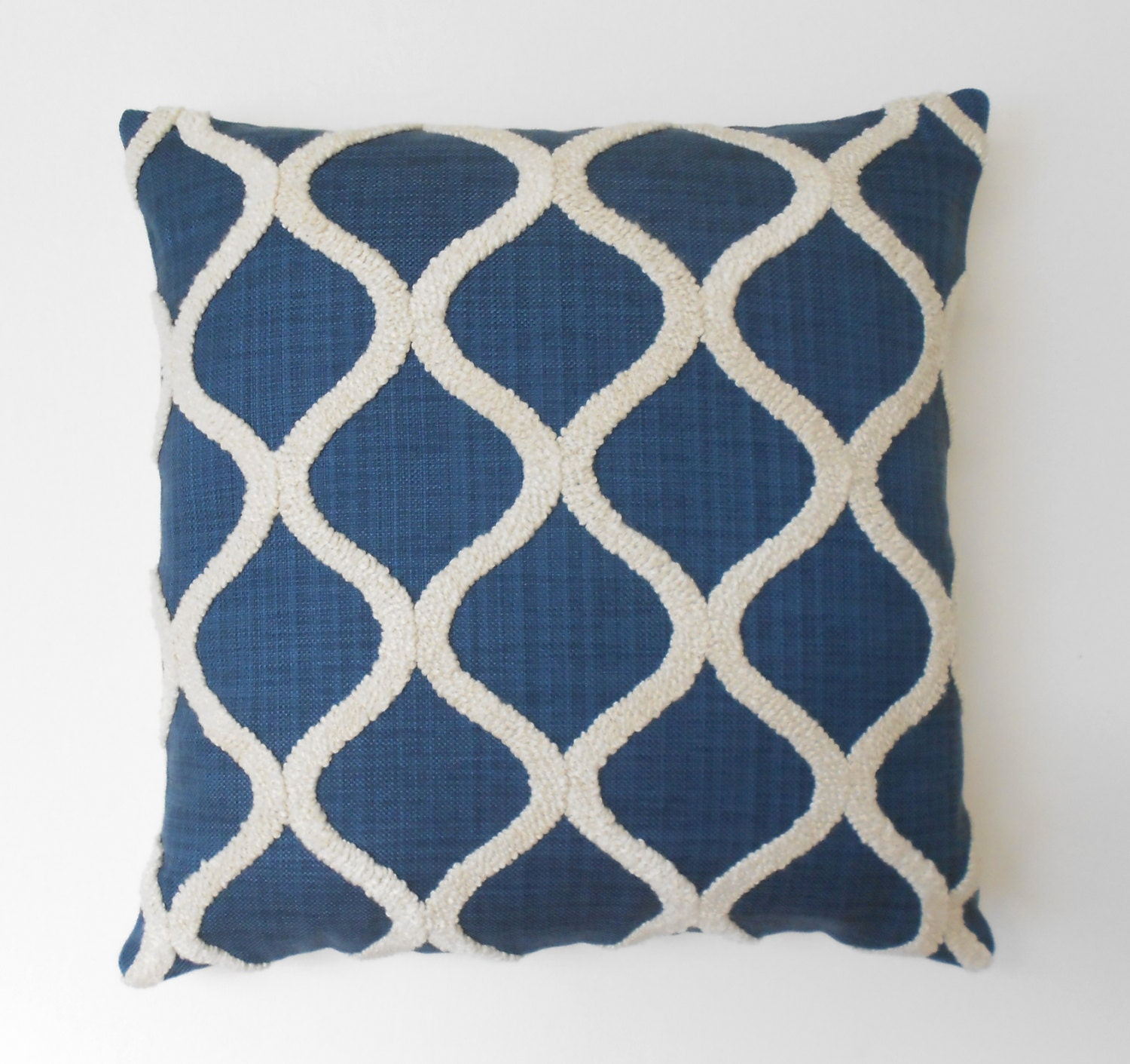 Navy blue embroidered tufted trellis decorative pillow cover