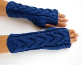 arm warmers wrist warmers hand knit mittens fingerless gloves blue cabled merino wool