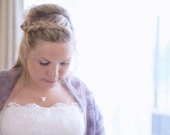 Dusty Purple Lace Shawl With 4 Wearing Ways- Shawl, Shrug, Crisscross Or Infinity Scarf. Plus Size Wedding Shawl, Dusky Purple Bridal Shawl