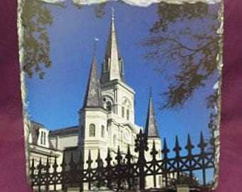 Original Cathedral Photo - St Louis Cathedral Slate - Wrought Iron Fence Photo - Original Artwork - New Orleans Cathedral - Wedding Gift