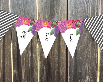 Instant Download - Printable Pennant, Bunting Banner - Butterfly Garden