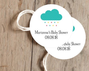Instant Download - 12 Printable Gift, Favor Tags - Rain Shower