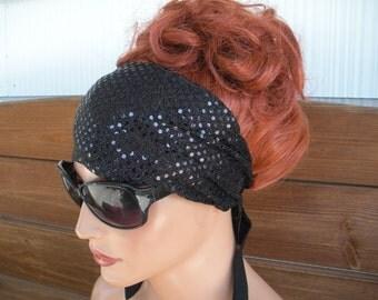Women's Headband Fabric Head Scarf Fashion Accessories Hair Scarf Women's Headwrap Headscarves Black Sparkle Headband