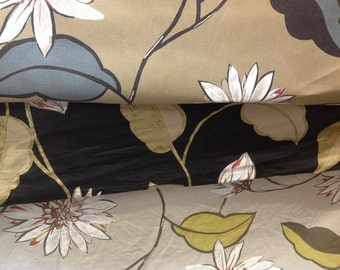 Nina campbell designer curtain fabric giverny by the metre in black, brown and fawn