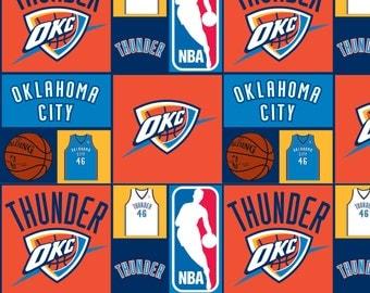 NBA OKC Oklahoma City Thunder Cotton Fabric by the Yard