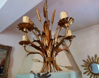 Antique French gilded toleware lighting chandelier gilded tole chandelier hanging ceiling light lamp w ear of corn, chic design from France
