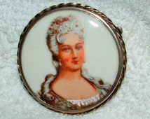 Antique Sterling Silver  MADAME MARIE ANTOINETTE  Cameo Hand Pained Porcelain Limoges Brooch.  Pendant Converter Avail.