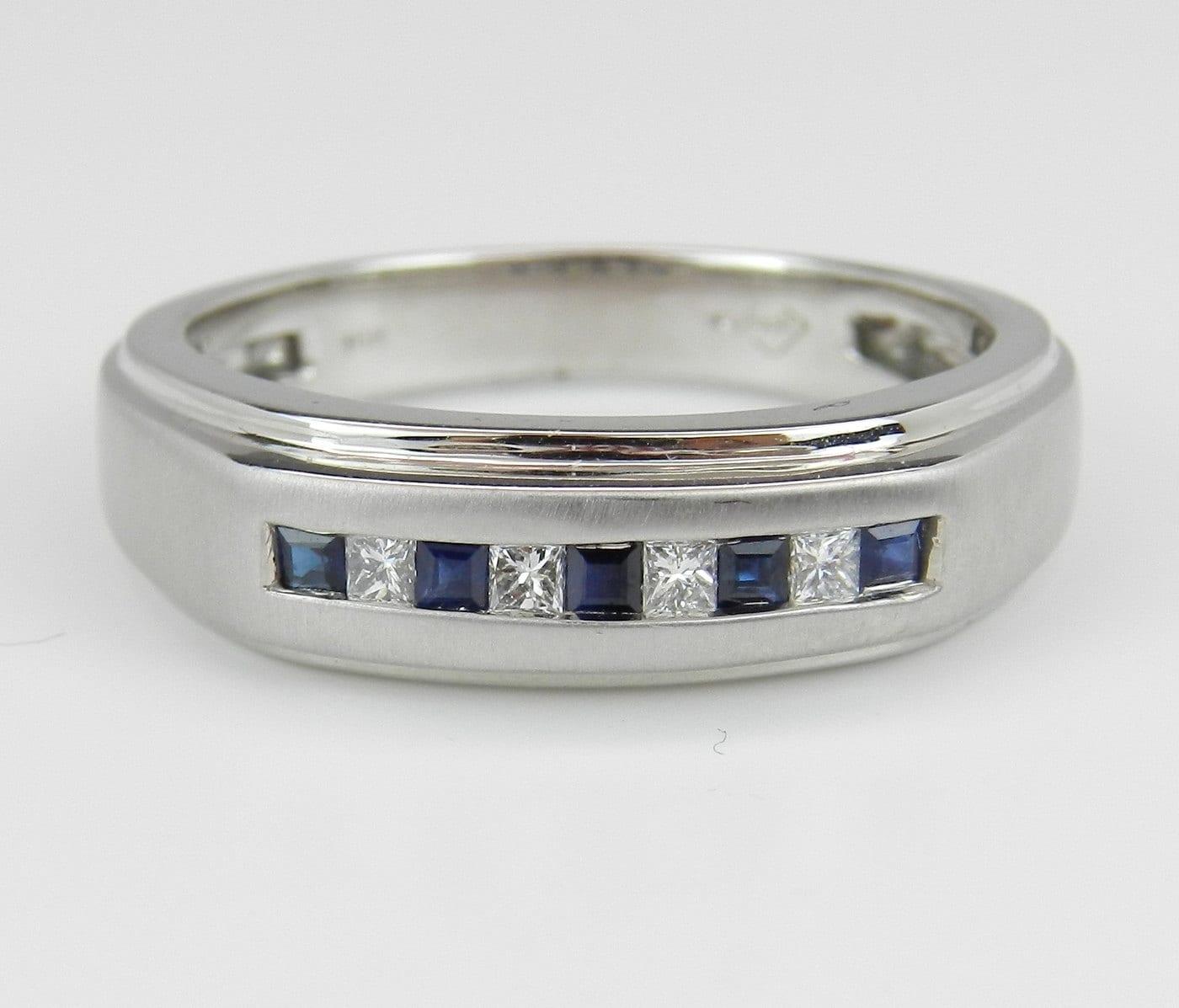 Mens Diamond And Sapphire Wedding Ring Anniversary Band White