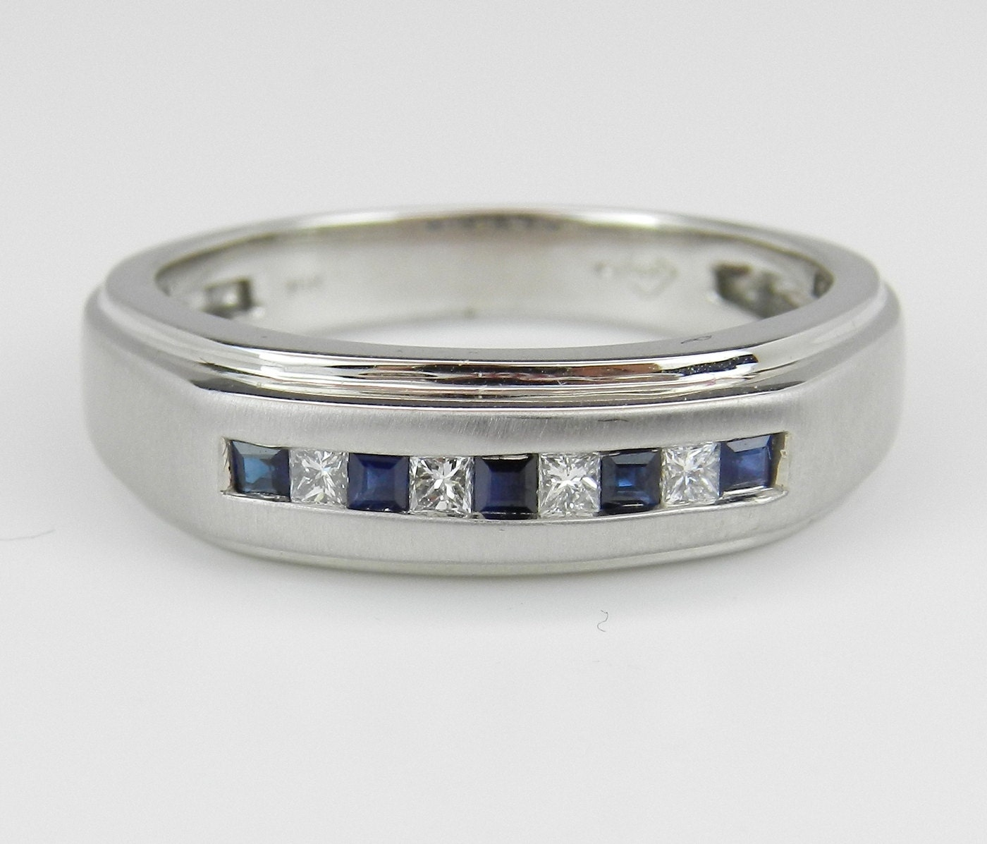 Mens diamond and sapphire wedding ring anniversary by galaxygems