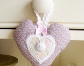 Heart  Hanging in Vintage Fabric, Household Decoration, Homemaker Gift
