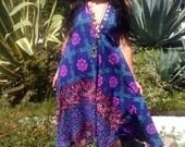 Cosmic Vintage Dress// Vintage Boho Kaftan// Indian Cotton Gypsy Caftan// One of a Kind Indian Maxi Dress