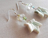 Handmade porcelain leaf earrings with 925 Sterling silver earwires and crystals. Free UK postage.
