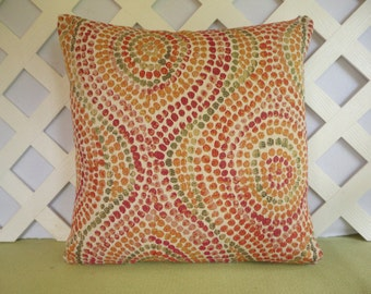 Thumbprint Geometric Pillow Cover/ Orange Plum Green Pillow Cover/ Decorative Pillow/ Accent Pillow, Retro