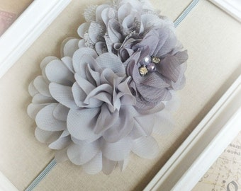 SILVER Headband,  Multi FLOWER Headband, GREY Chiffon Flower Headband, Baby Girl Headband, Infant Headband, Soft Headband