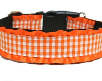 "Fall Dog Collar 1.5"" Orange Dog Collar SIZE LARGE"