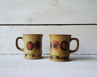 Vintage Mug, Stoneware, Pottery, Set of 2- Free Shipping