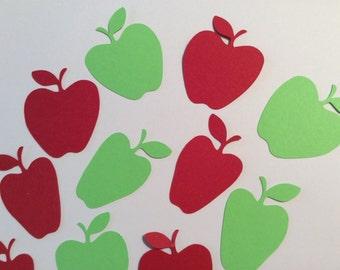 Handmade, 16 Red and Green Apples, Teacher Card, Teacher Confetti, Die Cuts, Cards, Scrapbooking, Paper Piecing, Handmade
