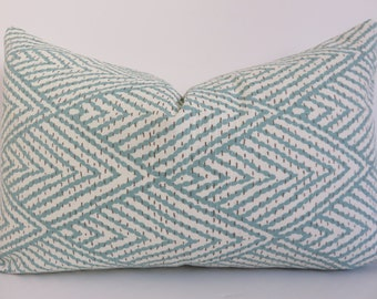Pillow Cover -12x20 Pillow - Decorative Lumbar - Aqua Pillow Cover - Chevron Aqua Pillow - Zig Zag Aqua Pillow - Lumbar Cover - Pillow Cover