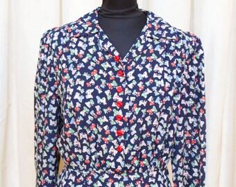 1940s Dress // Butterfly Novelty Print Cold Rayon Dress