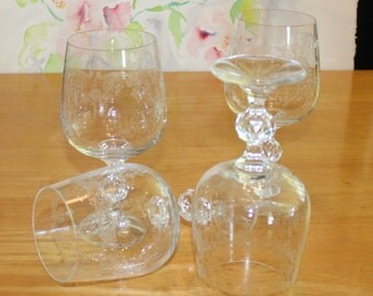 Pretty Vintage, Set of 4, Import Associates, Cascade, Etched Water Goblets