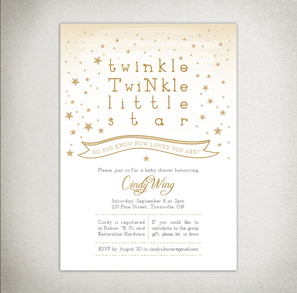 It's just a picture of Luscious Free Printable Twinkle Twinkle Little Star Baby Shower Invitations