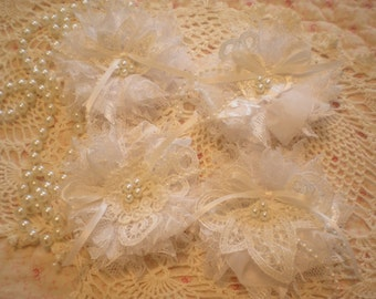 Shabby Chic White Lace Flower Appliques Set Of 4 By SincerelyRaven On Etsy