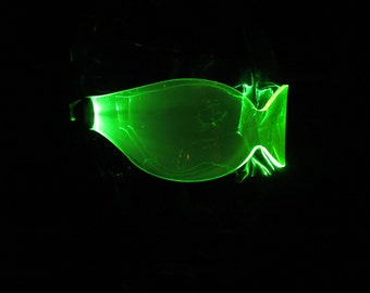 The original Illuminated Cyber goth Bug visor neon green
