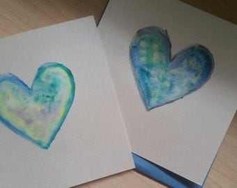 "Set of Two 5.5x5.5""Heart Watercolor & Gouache Notecard Paintings"
