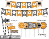 Halloween Chevron Party Pack - Grey and Orange - INSTANT DOWNLOAD - Printable PDF