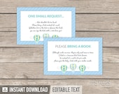 Bring a Book Card - Hot Air Balloon Boy Baby Shower - Blue Green - Bring a Book Insert - INSTANT DOWNLOAD - Printable PDF with Editable Text