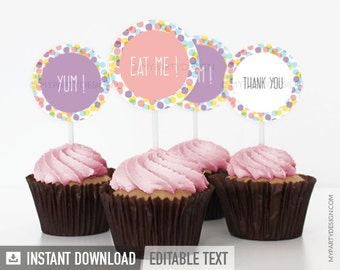 Confetti Party - Cupcake Toppers - Party Circles - Sprinkles Party - INSTANT DOWNLOAD - Printable PDF with Editable Text