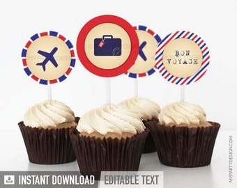 Travel Party / Farewell Party - Cupcake Toppers - Party Circles - INSTANT DOWNLOAD - Printable PDF with Editable Text