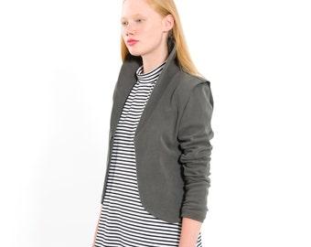 Grey cardigan, High neck top, short coat, short jacket, short blazer, Sweatshirt