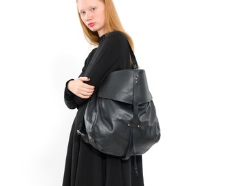 Large Black Leather handbag, Black Leather Tote Bag- Soft Leather Bag - Shoulder Bag - Every Day Bag - Sac Bag - Office Bag- for women