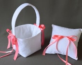 White Lace Wedding Ring Pillow and Flower Girl Basket Set with coral pink ribbon bows