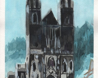 "Church. Watercolor on Paper. 8"" x 11"""