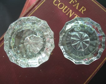 Lot of 2 Vintage 12 Point Crystal Door Knobs Architectural Salvaged Hardware