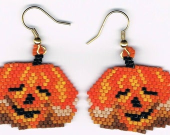 Hand Beaded Jack O Lantern Pumpkin #3 earrings