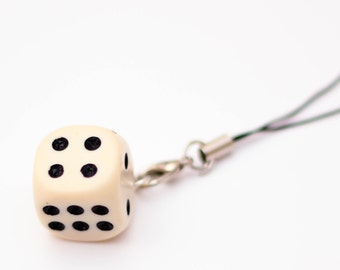 D6 phone charm - white, dnd, dice, tabletop, board games, geeky charm, nerdy phone charm