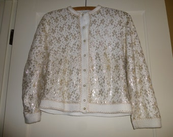 Sweater Vintage 1950s Shimmery Gold and white Cardigan Nice Detail Pretty Buttons