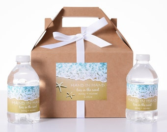 Beach Wedding Decor - 25 Wedding Favor Box / Welcome Box Labels Gable Wedding Box Set with 50 Water Bottle Labels