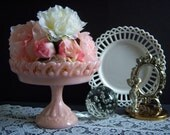 Reserved - Fenton Pink Pastel Lace Edge Compote - Pink Milk Glass - Milk Glass Compote - Wedding Milk Glass - Vintage Wedding - Milk Glass