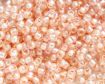 TOHO beads, size 11/0, peach seed beads, Inside-Color Rainbow Crystal Apricot Lined N 794, rocailles, glass beads - 10g - S574
