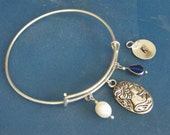 Large Charm Bangle! Cameo, White Pearl, Blue Glass Bead, Inital Tag, Silver Adjustable Bangle! Personalized Gift, B'Day Gift, Holiday Gift