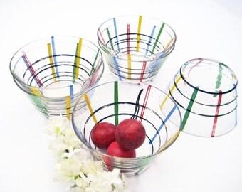 6 Vintage Glass Dessert Bowls, Stripes in Fiestaware Colors