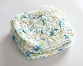 SHOP CLOSING SALE . Large Square Face Scrubby Set . Set of 3 . Crochet . 100 Percent Cotton . White, Blue, Yellow & Green