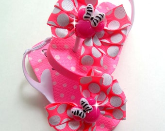 Minnie Mouse inspired flip flops size 5