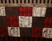 Cowboy, Red Barnwood, and Brown Minky Patchwork Blanket