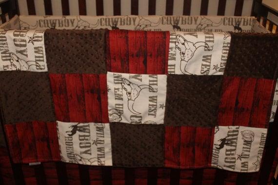 Cowboy Baby Blanket Cowboy Red Barnwood And Brown Minky