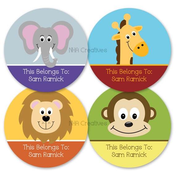 Personalized Name Labels - Animals - DIY Printable Digital File
